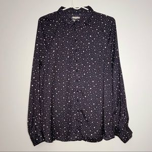 Urban Outfitters Silky Navy Star Print Button Down